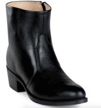 Short Western Boot BLK West/Side Zip - Black- Size 07-12