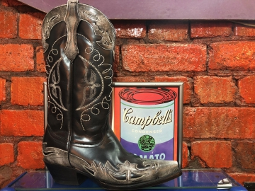 Fashion Cowboy Boot -Moon Design- Black/Gray- Size 07-15