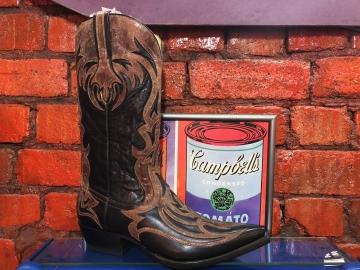Fashion Cowboy Boot -Cognac Laser Overlay - Black - Size 07-15