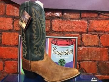 Cowboy Boots -2071 Mens Green Tan - Green/Tan - Size 07-13