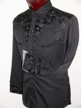 Western Shirts - 634 Jet Black Floral Western Shirt - Black - Size S- 7XL