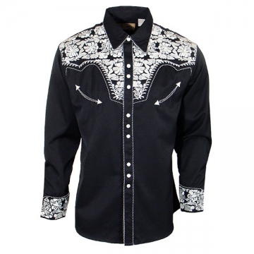 Western Shirts - 634 Silver Floral Western Shirt - Silver - Size S-7XL