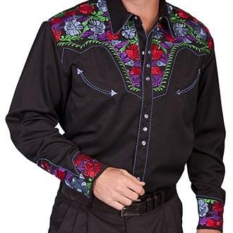 Western Shirts - 634 Blue Floral Western Shirt - Blue - Size  S-7XL