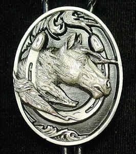 Bolo Ties - Enamel Horse Head & Horseshoe Bolo Tie