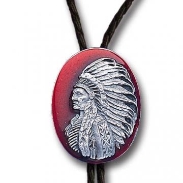 Bolo Ties - Enamel Red Indian Chief Bolo Tie