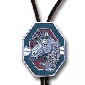 Bolo Ties - Enamel Silver Horse Bolo Tie