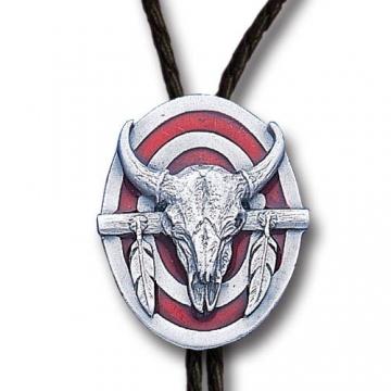 Bolo Ties - Enamel Red Buffalo Skull Bolo Tie