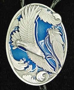Bolo Ties - Enamel Blue Eagle Scroll Bolo Tie