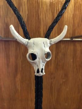 Bolo Ties - White Bufallo Skull Bolo Tie