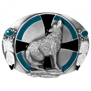 Buckles - Enamel Wolf & Feather Buckle
