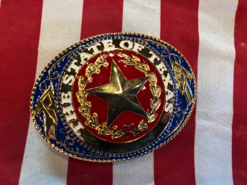 Buckles - The State of Texas Patriotic gold trim Buckle