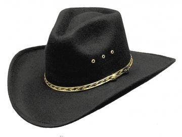 Classic Cowboy Hat - Black Felt Pinched Cowboy Hat - Black - Size 53-61