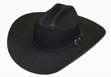 Classic Cowboy Hat - Monterrey 3X Wool Felt Black Cowboy Hat - Black - Size 53-61