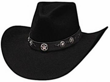 Classic Cowboy Hat - 4X Star Studded Cowboy Hat - Black - Size 53-61