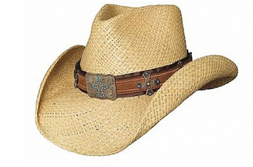 Themed Straw Cowboy Hat- Quiet Time Natural Cowboy Hat - Natural - Size S-XL