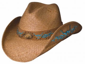Themed Straw Cowboy Hat - Sweetest Thing Natural Cowboy Hat - Natural/Blue-  Size S-XL