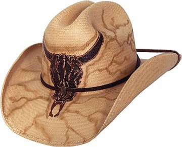 Themed Straw Cowboy Hat -No Guts, No Glory Natural Cowboy Hat - Natural/Maroon - Size S-XL