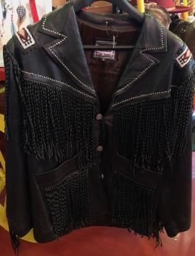 Western Jacket - Black Beaded Steven Seagal Western Jacket - Black - Size M-3XL