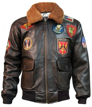 Attire - Mens Official Signature Top Gun Military Jacket - Dark Brown - Size M-4XL