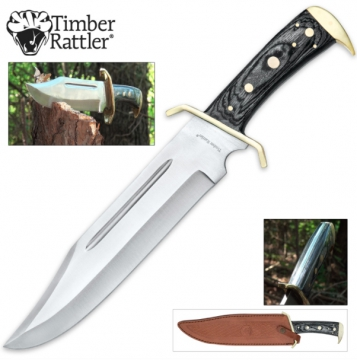 Knives - Timber Rattler Western Outlaw Full Tang Bowie Knife With Leather Sheath