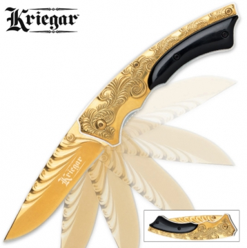 Knives - Kriegar Gentlemans Assisted Opening Pocket Knife Gold