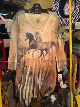 Fashion Designer Shirts- Cactus Two Horses Ivory Shirt - Ivory - Sizes S-2XL