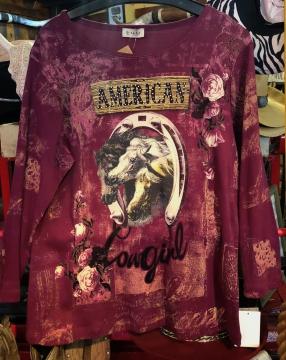 Fashion Designer Shirts - Cactus American Horse Cowgirl Shirt  - Purple - Sizes S-2XL