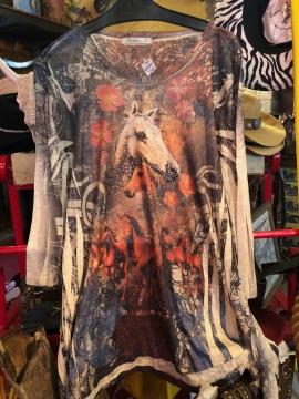 Fashion Designer Shirts - Cactus Two Horses Shirt - Multicoloured- Sizes S-2XL