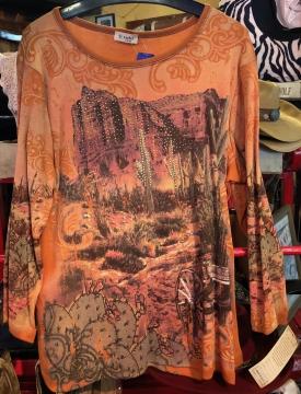 Fashion Designer Shirts - Cactus Texas Orange Shirt - Orange - Sizes S-2XL