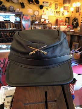 Hats - Leather Confederate Hat - Black  All size fit one