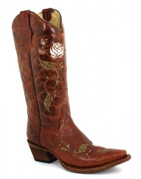Fashion Cowboy Boots - 5070 Cognac- Flower Beige Boots - Cognac/Beige -6-10