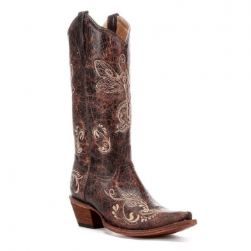 Fashion Cowboy Boots - 5001 Distressed Brown Boots - Brown - 6-10