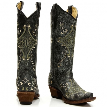 Fashion Cowboy Boot - 5047 Black Green Crackle Boots - Black/Green - 6-10