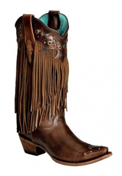 Fashion Cowboy Boot - 1185 Sierra Tan Fringe Boots - Tan - 6-10