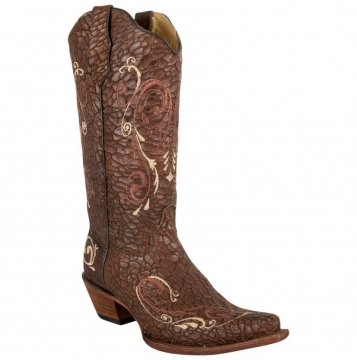 Fashion Cowboy Boots - 5069 Choc Beige Crackle Boots- Chocolate/beige - 6-12