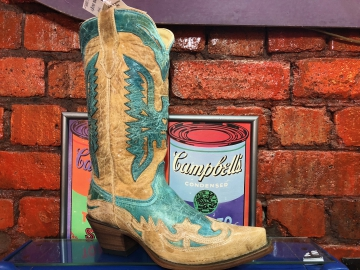 Fashion Cowboy Boots - R2265 Turquoise Antique Saddle Boots - Turquoise - 6-12