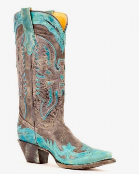 Fashion Cowboy Boots - R2266 Black Turquoise Boots - Black/Turquoise - 6-12