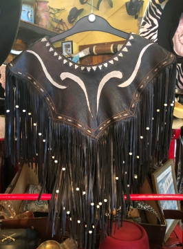 Fashion Western Jacket Ponchos- Black Leather Symbol Poncho with Tassles & Beads - Black - Size -One Size