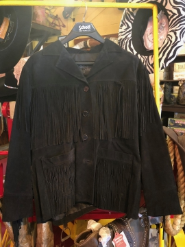 Fashion Western Jacket - Black Suede Tassle Jacket - Black - Size M-XL