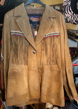 Fashion Western Jacket - Beige Suede Jacket with Coloured Beads - Beige - Size M - XL