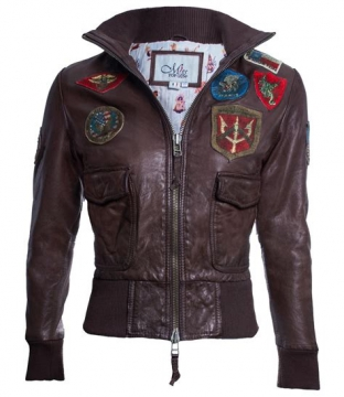 Attire- Official Miss Top Gun Jacket- Antique Brown Size -S-XL