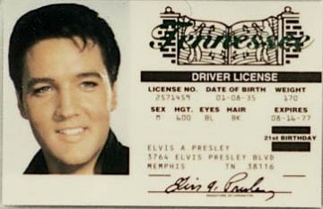 Novelties - Elvis Presley License