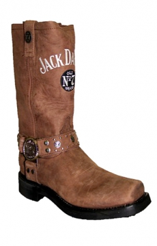 Footwear - Jack Daniels Wide Square Toe W/Harness Boot - Tan - Size 6.5-13