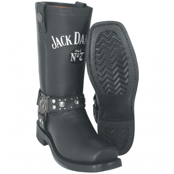 Footwear- Jack Daniels Square toe Boot W/Harness - Black - Size 6.5-13