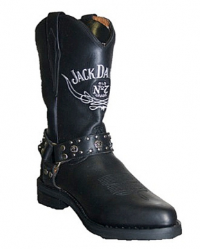 Footwear - Jack Daniels Western Long Boot W/Harness -Black - Size 6.5-13