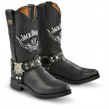 Footwear - Jack Daniels Western Boot W/Harness - Black - Size 6.5-13