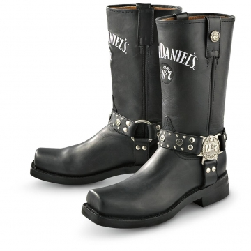 Footwear - Jack Daniels Round Toe Boot W/Harness - Black - Size 6.5-13