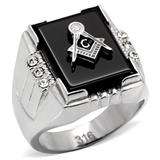 Jewellery - Gold Masonic 6 stone Ring - Size 8-13