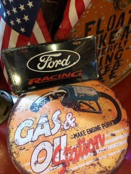 Metal Signage - Black Ford Racing Sign