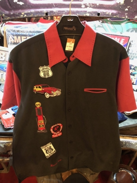 Short Sleeve Button Shirt - Route 66 Shirt - Black- Size M-3XL